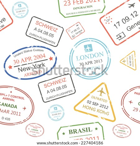 Seamless background pattern of a close packed assortment of cachets and hand stamps of passport control offices  from different countries and tourist destinations in a travel and vacation concept - stock vector