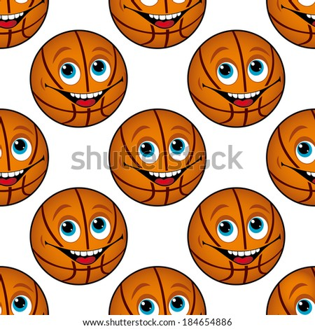 Seamless background pattern of a happy cartoon basketball with blue eyes and a toothy smile in square format suitable for textile or wallpaper - stock vector