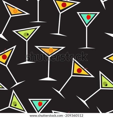 Seamless Background Pattern of  Alcoholic Cocktail Glass Vector Illustration