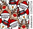 seamless background pattern of christmas santa, reindeer and snowman - stock vector