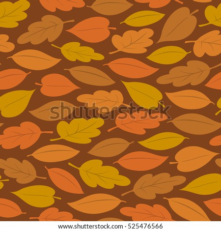 Seamless background pattern of colorful autumn or fall leaves, vector illustration