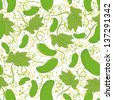 Seamless background, pattern of cucumbers, leaves and circles. Vector - stock photo