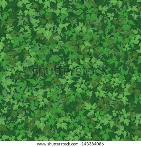 Seamless background, pattern of maple green leaves. Vector - stock vector