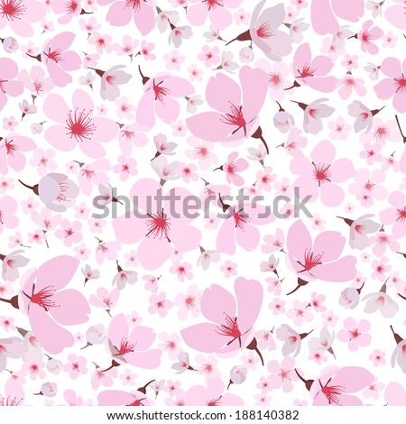 Seamless background pattern of pink Sakura blossom or Japanese flowering cherry symbolic of Spring in a random arrangement on a white background  square format suitable for textile  wallpaper or tiles - stock vector