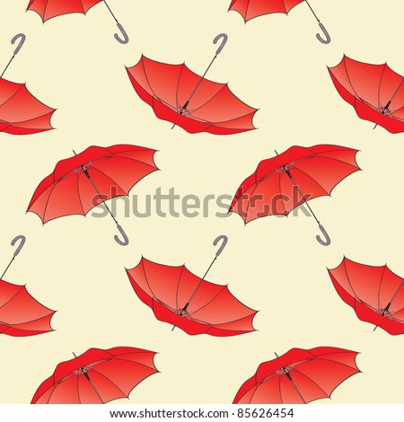 Seamless background pattern of red umbrellas. Vector illustration eps.10.