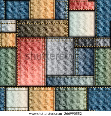 Seamless background pattern. Patchwork of denim fabric. - stock vector