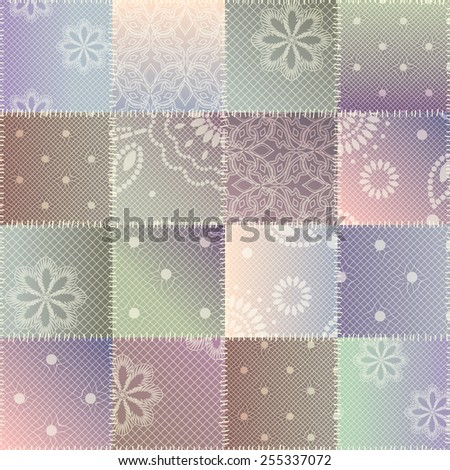 Seamless background pattern. Patchwork of lace fabric. - stock vector