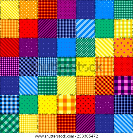 Seamless background pattern. Patchwork pattern of rainbow colors. - stock vector