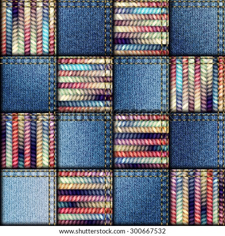 Seamless background pattern. Patchwork quilt from scraps of denim and knit. - stock vector