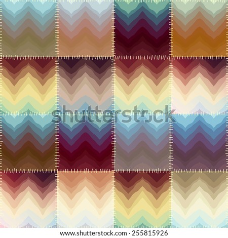 Seamless background pattern. Patchwork with chevrons of stains. - stock vector