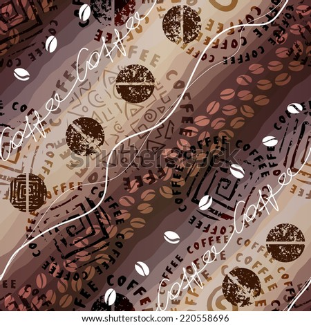 Seamless background pattern. Will tile endlessly. Coffee pattern - stock vector