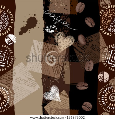 Seamless background pattern. Will tile endlessly. Grunge coffee collage, imitation scrapbooking - stock vector