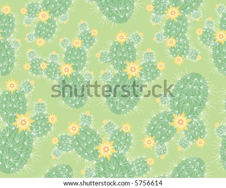 Seamless background pattern with blooming cacti - stock vector