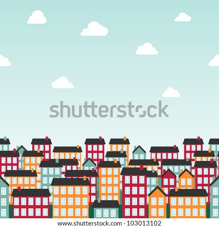Seamless background pattern with colorful town. Vector illustration. - stock vector