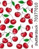seamless background pattern with fresh juicy cherries - stock vector