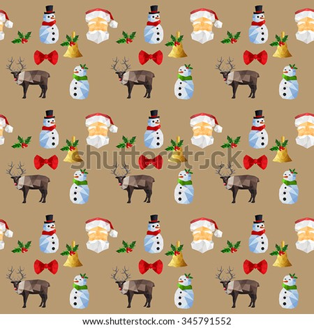 Seamless background pattern with origami christmas objects - stock vector