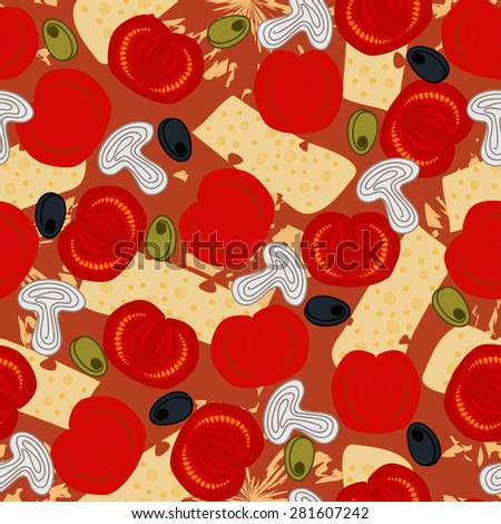 Seamless background pattern with Pizza capricciosa ingredients: red tomatoes, cheese, mushrooms, black and green olives on the dough with sauce. Vector illustration eps 10 - stock vector