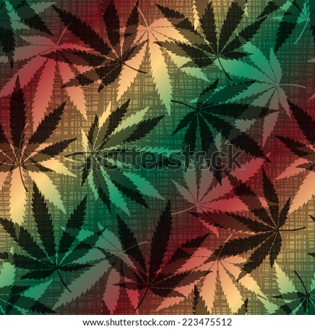 Seamless background pattern with the hemp leaves. - stock vector