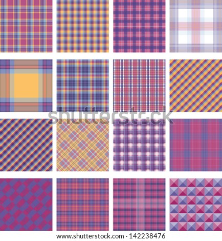 Seamless background set of plaid pattern, vector illustration - stock vector
