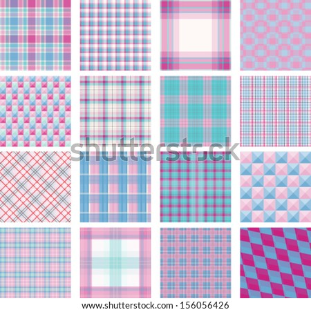 Seamless background set of plaid pattern, vector illustration, pink and blue baby colorful