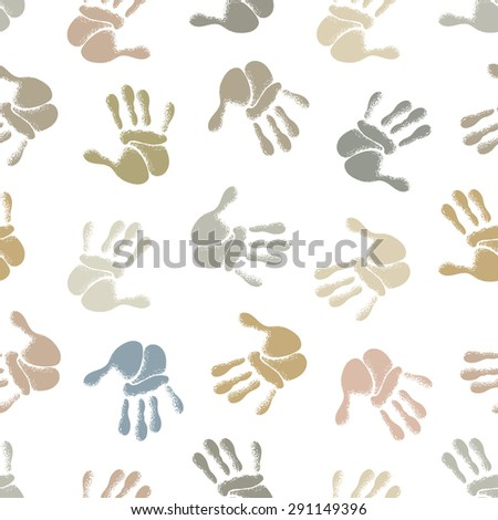 Seamless background, silhouettes of human hands, vector illustration