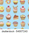 seamless background sweet cakes - stock vector