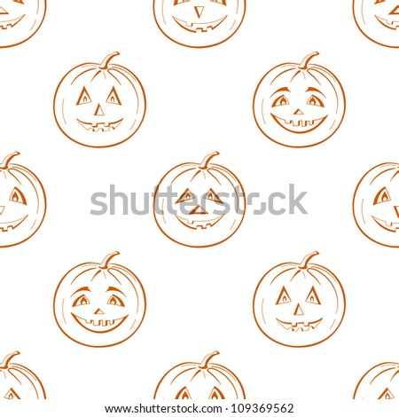 Seamless background, symbol of the holiday of Halloween pumpkins Jack O Lantern, symbolical pictograms isolated on white. Vector - stock vector