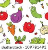 Seamless background texture of happy eco vegetables - stock photo