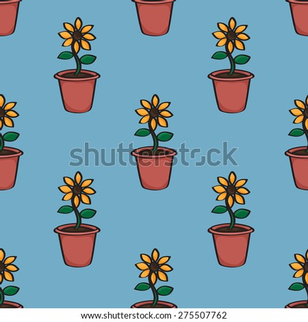 Seamless background tile with a pattern of cartoon sunflowers in terracotta pots.  This file is Vector EPS10 and uses a clipping mask.