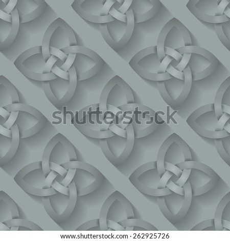 Seamless background tile with an intertwining Celtic Knotwork pattern with a long shadow effect.  This file is Vector EPS10. It uses clipping mask, blends and opacity masks.