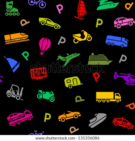Seamless background, transport colorful icons on a black backdrop. Vector illustration 10eps - stock vector