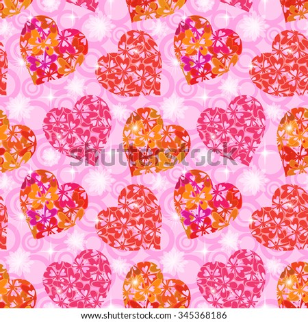 Seamless Background, Valentine Holiday Hearts with Butterflies and Abstract Pattern. Eps10, Contains Transparencies. Vector - stock vector