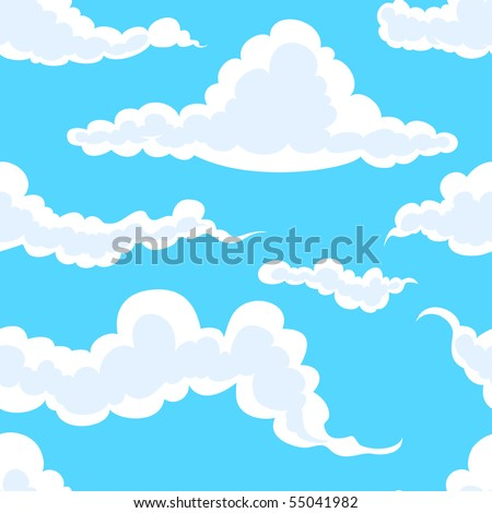 seamless background: white clouds in blue sky - stock vector