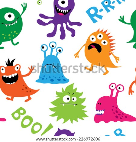 Seamless background with a colorful cute monsters - stock vector