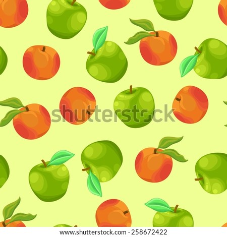 Seamless background with a pattern of delicious fresh ripe orange peach and green apple with leaves - stock vector
