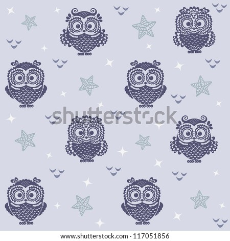 seamless background with a picture of owls moon and stars - stock vector