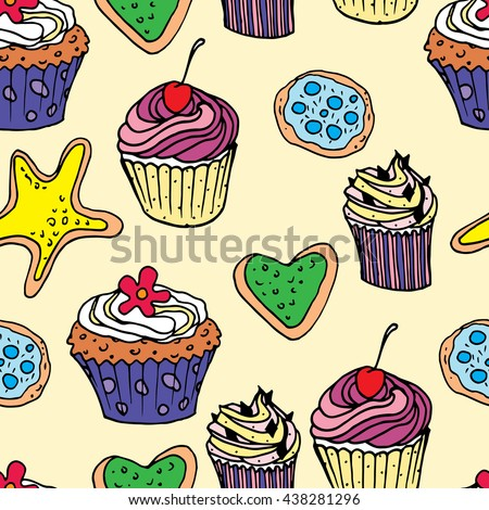 Seamless background with a picture of sweets. vector