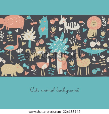 Seamless background with Africa animals. Cute tiger, alligator, lion, elephant, rhino, hippo, ostrich, monkey, flamingo, palms, flowers, butterflies  and zebra in cartoon style. - stock vector
