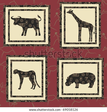 Seamless background with african animals. Buffalo, giraffe, gepard , hippopotamus . - stock vector