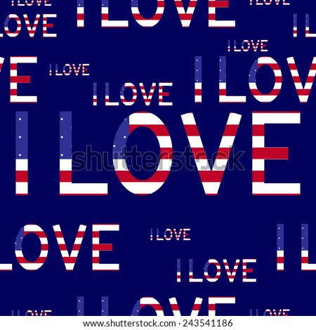 Seamless background with American flag in the shape of I love lettering isolated on navy background. For wallpaper, wrapping paper, textile decoration