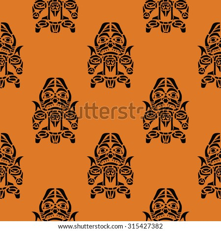 Seamless background with American Indians relics dingbats charac - stock vector