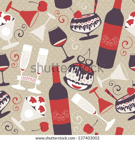 Seamless background with bar menu elements and desserts. Vector illustration in retro colors. - stock vector