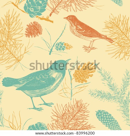 seamless background with birds - stock vector