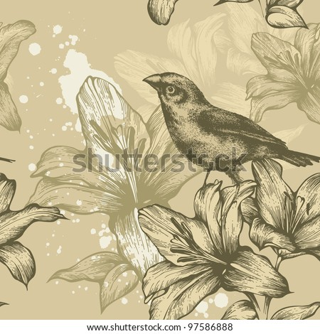 Seamless background with birds and flowering lilies, hand-drawing. Vector. - stock vector