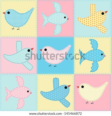 seamless background with birds fabric - stock vector