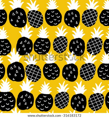 Seamless background with black and white pineapples on the yellow background. Vector repeated pattern. - stock vector