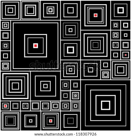 Seamless background with black and white squares with red accents - stock vector