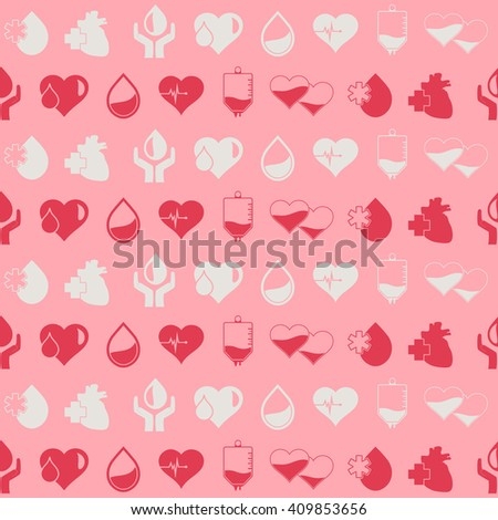 Seamless background with blood donation icons for your design