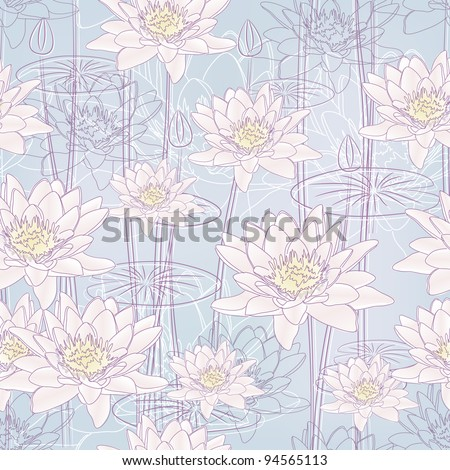 Seamless background with Blooming Water Lilies (Vector) - stock vector