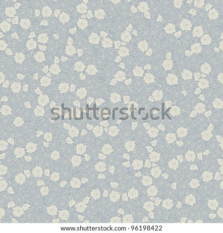 Seamless background with blue and beige flowers - stock vector